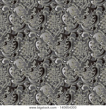 Dark baroque vector seamless pattern with gray volumetric 3d  ornament. Vintage element for design in Victorian style. Ornate luxury floral decor for textile and fabric. Endless stylish texture