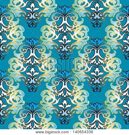 Baroque vector seamless pattern with gold and light blue volumetric 3d  ornament. Vintage element for design in Victorian style. Ornate luxury floral decor for textile. Endless stylish texture