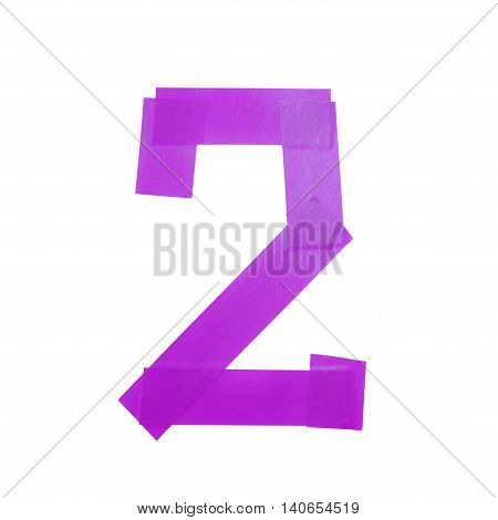 Number two symbol made of insulating tape isolated over the white background