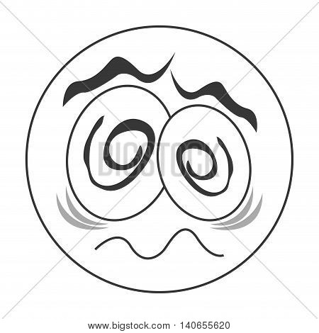 flat design traumatized face emoticon icon vector illustration