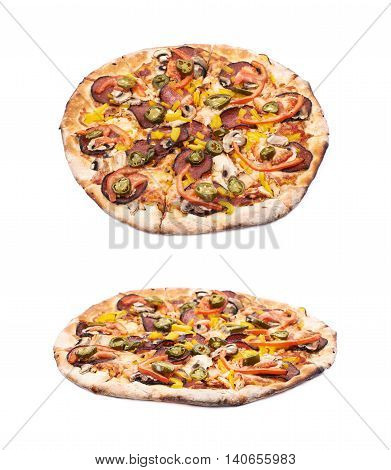 Mexican pizza isolated over the white background, set of two different foreshortenings