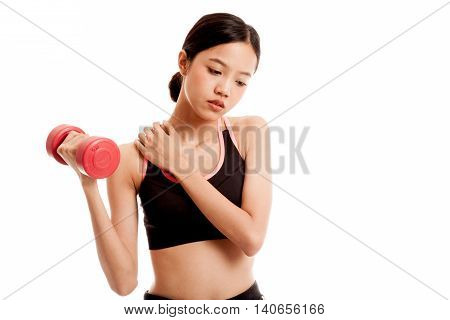 Asian Healthy Girl Got Shoulder Pain With Dumbbell