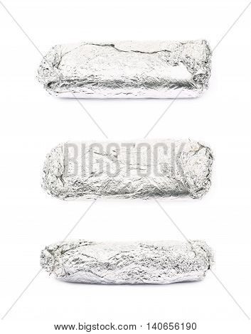 Sub sandwich wrapped in silver metal foil isolated over the white background, set of three different foreshortenings