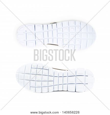 Light running sport shoe's sole isolated over the white background, set of two different foreshortenings