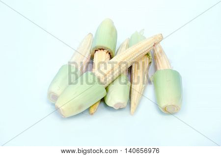 Baby Corn Fruit Isolated On White Background
