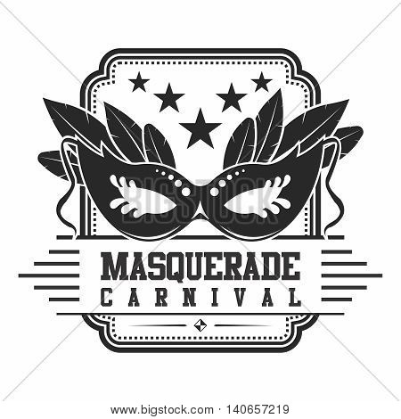 Vector Vintage Logo of Masquerade Carnival, monochrome isolated on white background