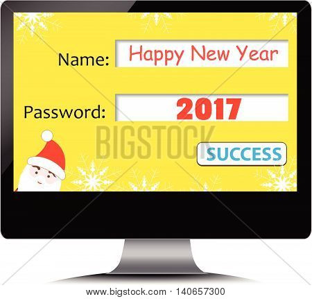 Happy new year 2017 on computer screen