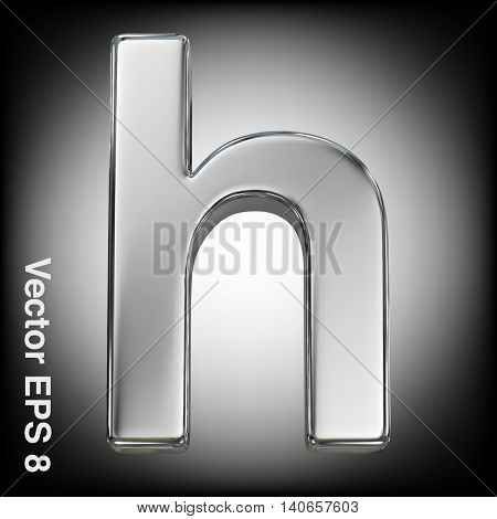 Vector letter h from metal alphabet. Lowercase metal font collection. EPS 8