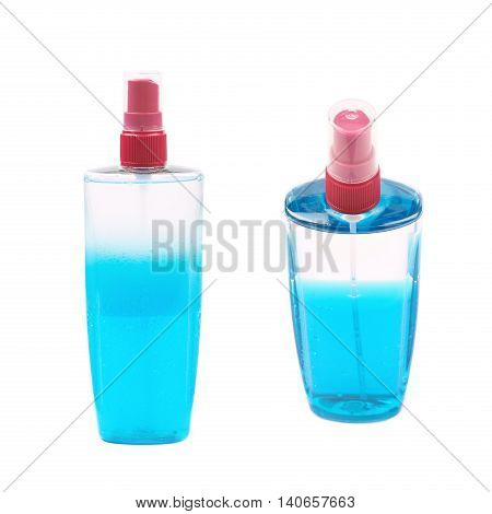 Plastic flacon bottle dispenser filled with the blue liquid isolated over the white background, set of two different foreshortenings