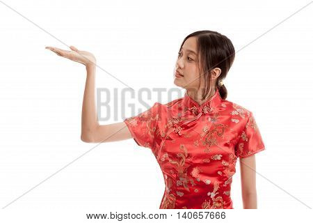 Asian Girl In Chinese Cheongsam Dress With  Blank Space On Her Hand