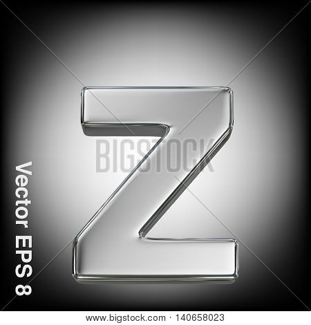 Vector letter z from metal alphabet. Lowercase metal font collection. EPS 8