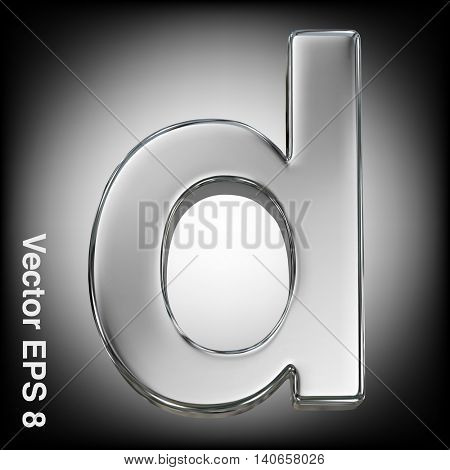 Vector letter d from metal alphabet. Lovercase metal font collection. EPS 8