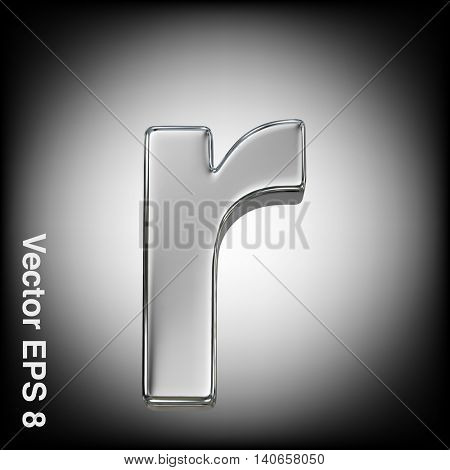Vector letter r from metal alphabet. Lowercase metal font collection. EPS 8