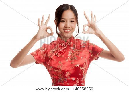 Asian Girl In Chinese Cheongsam Dress Show Ok Sign