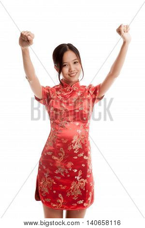 Happy Asian Girl In Chinese Cheongsam Dress