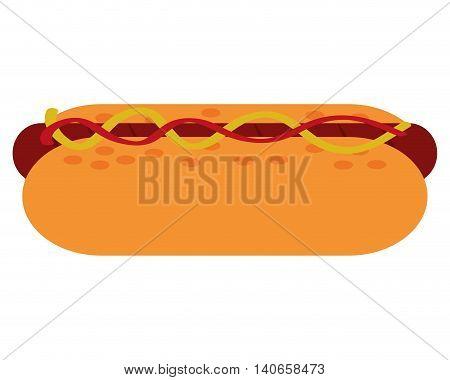 flat design hot dog icon vector illustration