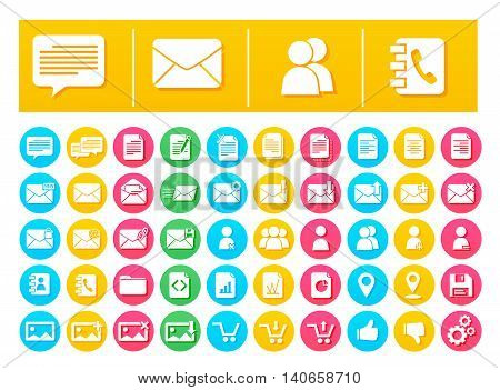 Vector Icon Pack Messaging and Communication Flat in Colorful Circles