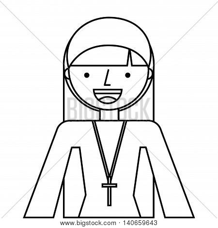 nun woman religion icon vector isolated design