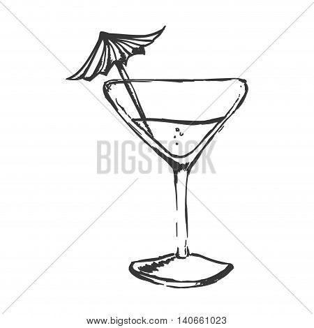 Drink and alcohol concept represented by cocktail glass with umbrella icon. Isolated and sketch illustration