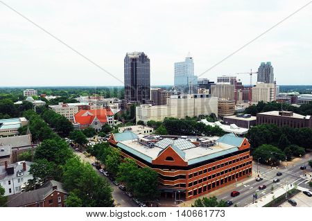 high angle view of Raleigh downtown district