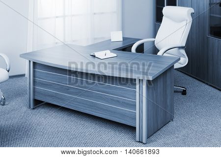 chair of director on a background of a window