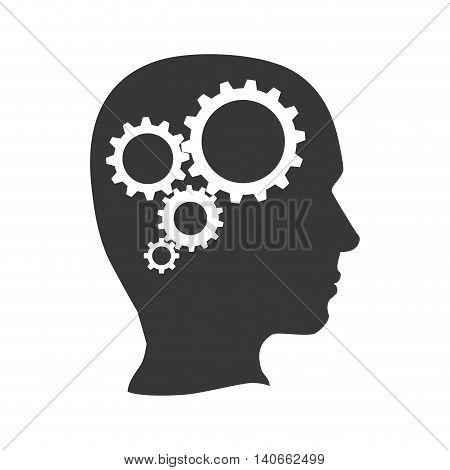 Machine part concept represented by gear icon inside silhouette head. Isolated and flat illustration
