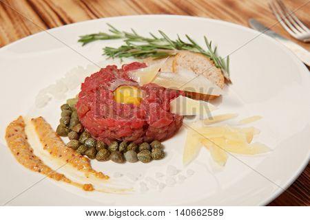 Beef tartare, closeup