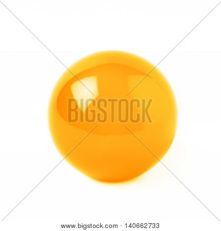 Transparent orange glass ball sphere isolated over the white background