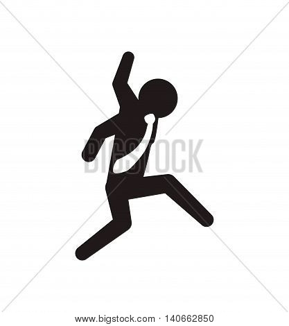 Pictogram concept represented by businessman con. Isolated and flat illustration