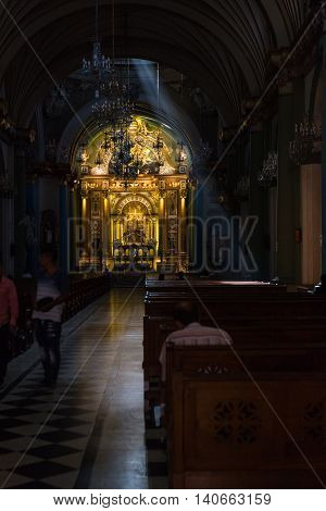 Interior Of A Catholic Church In Lima