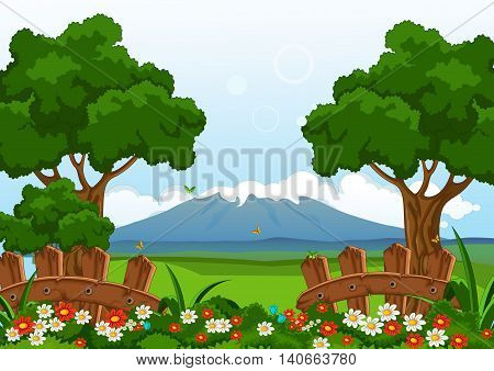 beauty landscape with flower garden for you design