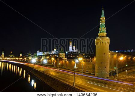 Nighttime view of Kremlin and the Moscow River embankment in Moscow, Russia