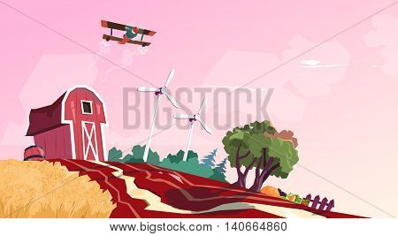 Farm Barn Building Field With Wind Turbine Flat Vector Illustration
