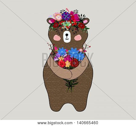 Adorable bear in floral technique. Beautiful card with lovely cute little bear
