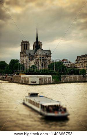 Notre-Dame Cathedral over River Seine tilt-shift