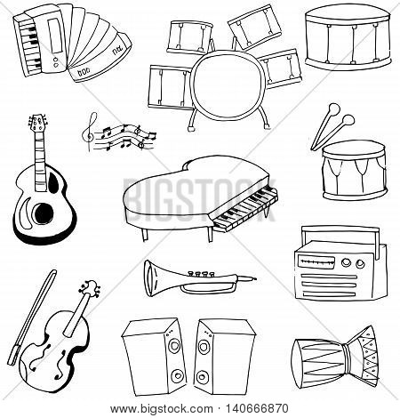 Doodle music icon set stock vector illustration