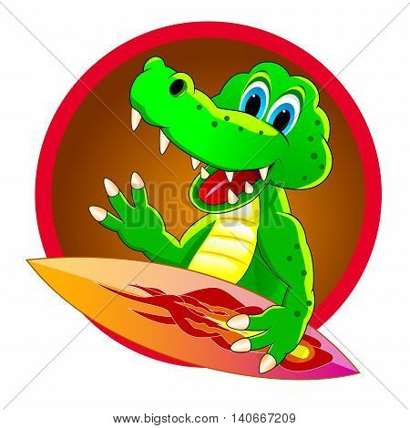 Cartoon surfer crocodile. Crocodile with a board for surf. Icon surfer crocodile.