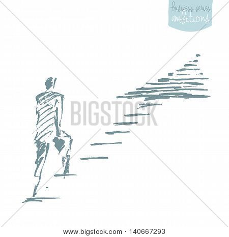 Hand drawn vector illustration of a businessman standing on a rising arrow. Concept illustration, sketch