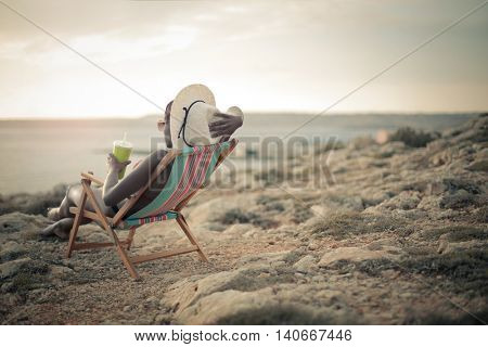 Woman enjoying her time at the beach