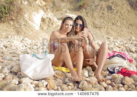 Girls selfie at the beach