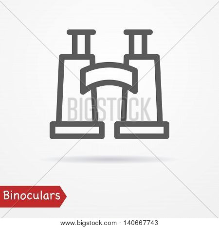 Abstract simplistic binoculars icon in silhouette line style with shadow. Military or travel vector stock image.
