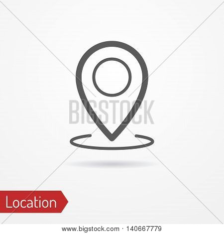 Abstract location icon in silhouette line style with shadow. Simplistic map pointer. Travel and maps vector stock image.
