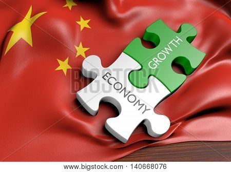China economy and financial market growth concept, 3D rendering