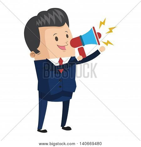 flat design businessman holding megaphone icon vector illustration