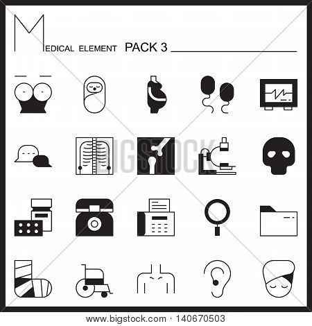 Medical line icons.Mono outline icons pack 3.Pictogram set