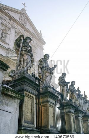 Sculptures Of Saints. Architectural Details Of The Church Of The Apostles St. Peter And Paul In Old