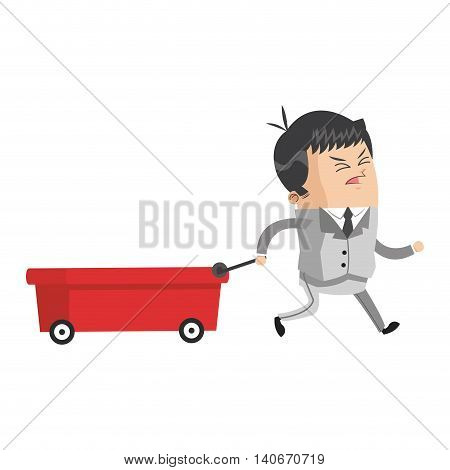 flat design businessman pulling wagon icon vector illustration