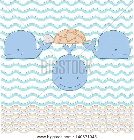Vector illustration of cosmologcal myth - world turtle on three whales in ocean. Divine animals of ancient folklore about earth creation.