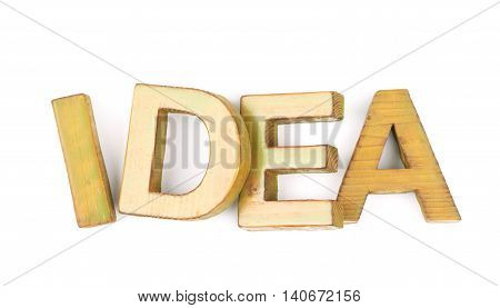Word Idea made of colored with paint wooden letters, composition isolated over the white background