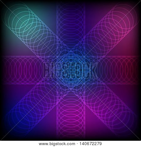 Abstract colorful circle line blend background, stock vector